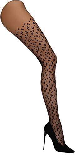 LivCo Leopardenmuster, transparente T-Band-Strumpfhose mit bequemer Rippung und Flacher Naht - Socks-Palce Edition (Schwarz, IV)