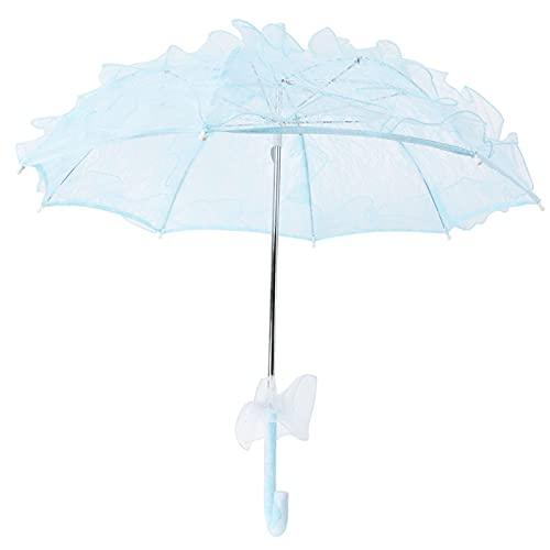 Sombrilla de encaje - Mini paraguas plegable para novia Sombrilla floral de encaje Accesorios de boda Ideal para damas de honor y niñas de flores - Accesorio para fotos Azul