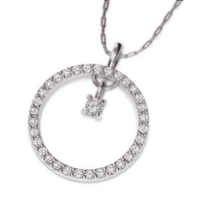 天然ダイヤモンド 18金ホワイトゴールド ペンダント ネックレス メンズ 約0.37ct チェーン 60cm
