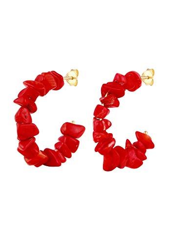 Elli Ohrringe Damen Creolen Rot Koralle Beads in 925 Sterling Silber vergoldet