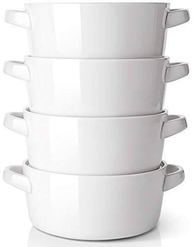 DOWAN Soup Bowls with Handles, 24 ounces Ceramic Serving Soup Bowl Set for kitchen, White French Onion Soup Crocks Oven Microwave Dishwasher Safe, Large Stackable Handled Bowls Set of 4