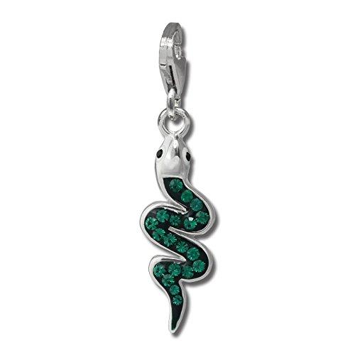 SilberDream Glitzer Charm Schlange mit Tschechischen Preciosa Kristallen grün Anhänger 925 Silber für Bettelarmbänder Kette Ohrring GSC585G