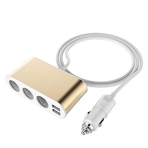 FJW Double Port Chargeur de Voiture USB 5V 3.1A avec la Technologie de Charge Intelligente adaptative avec diviseur d'allume-Cigarette à 3 Prises Protection Intelligente pour Voiture 12V-24V