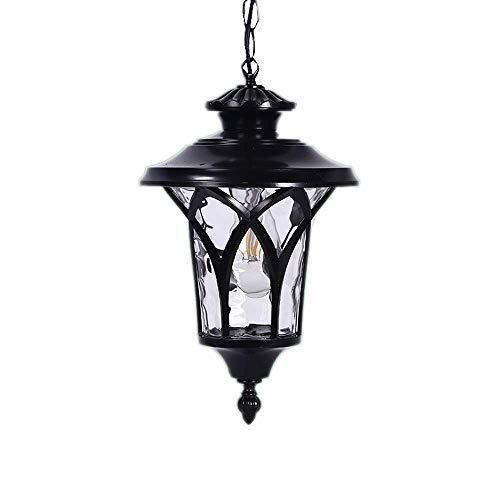 ZCCLCH Clásico Retro Country Edison Lámpara de Techo Colgante Exterior Impermeable Aluminio Vidrio Exterior Lámparas Iluminación Negro Jardín Iluminación Patio Lámparas Colgantes