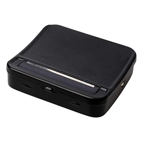 pengxiaomei Máquina de liar cigarrillos, caja de metal portátil para liar cigarrillos, rodillo de fumar y caja de almacenamiento, color negro