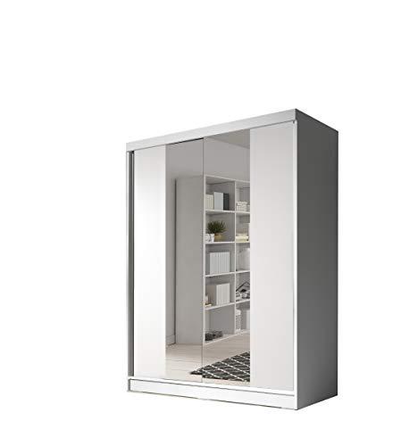 mb-moebel Moderner und funktionaler SchiebetürenSchrank Kleiderschrank Schrank Garderobe Zweitürenschrank Spiegeltür Schlafzimmerschrank 160 cm EVA02 (Weiß)