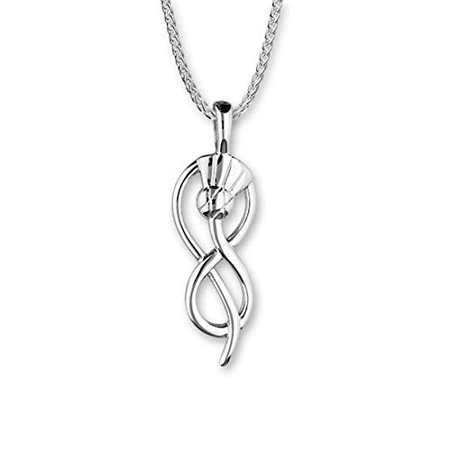Ortak Scotland Contemporary Infinity Scottish Thistle Sterling Silver Necklace Pendant