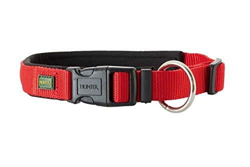 HUNTER NEOPREN VARIO PLUS Halsung, Hundehalsband, Nylon, mit Neopren gepolstert, 40/2,0 (S-M), rot/schwarz