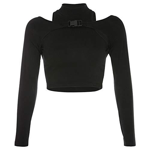 Bigbarry Tapas de la Cosecha Fall Winter Street Venció Hebilla Bolsa Hueca Falsificación Dos Camiseta De La Camisa Sexy (Color : Black, Size : M)