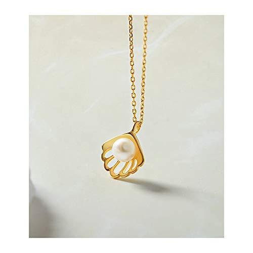 NYKK Colgantes de Mujer Collar de Perlas Mujer de Plata esterlina Cadena de clavícula Simple Colgante de nicho de diseño de joyería Regalo de cumpleaños Collar Colgante