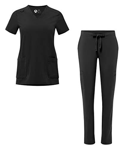 Adar Addition Scrub Set for Women - V-Neck Scrub Top & Skinny Cargo Scrub Pants - A9200 - Black - 2X