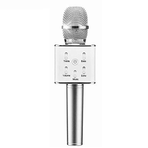Microfoon Draadloze Bluetooth KTV Karaoke Microfoon Handheld USB Player Mic Speaker ZILVER