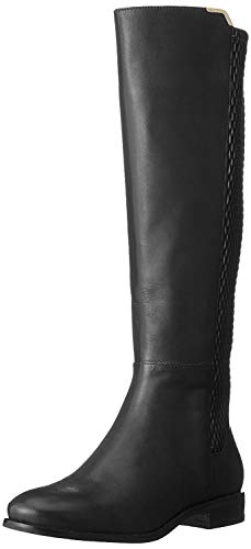 Cole Haan Women's Rockland Boot Riding, Black Leather, 9 B US