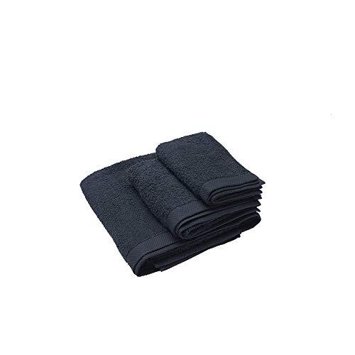 Juego de 1 Toalla de tocador 30×50 cm, 1 Toalla de Lavabo 50x100 cm, 1 Toalla de baño 100x150 cm Damasco, Color Negro, 100% algodón de 520 g/m2