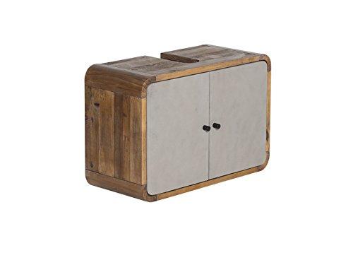 Woodkings® Waschbeckenunterschrank Dingle Holz Pinie rustikal und MDF Betonoptik grau Badezimmermöbel Unterschrank Badschrank Badmöbel hängend für kleines Bad