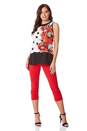 Roman Originals Top floral para mujer, con capa de contraste, para mujer, informal, para día, cena, noche, fiesta, verano, vacaciones, sin mangas, impresión