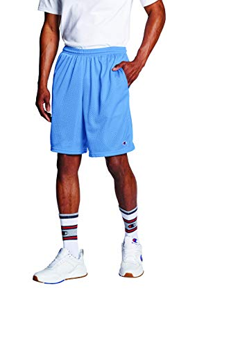 Champion Men's Long Mesh Short with Pockets,Swiss Blue,Large