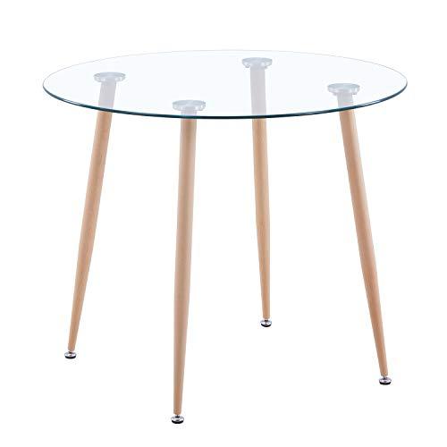 GOLDFAN Tavolo da pranzo moderno rotondo in vetro, Molto Adatto per Sala da Pranzo o Ufficio per 2-4 Persone,80 * 80 * 75CM ,Vetro (Solo Tavolo)