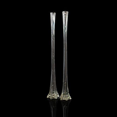 Vintage Vasen Gladiolen, französisch, Glas, hoch, geriffelt, Circa 1970