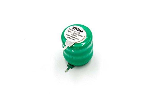 vhbw Knopfzellen Akku Typ V80H (NiMH, 80mAh, 3.6V) - Säule mit 3 Zellen, 2 Pins Printanschluss, wiederaufladbar