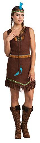 Karneval-Klamotten Indianer Kostüm Dame Apache Indianerin Kostüm dunkel braun mit Stirnband Karneval Damen-Kostüm