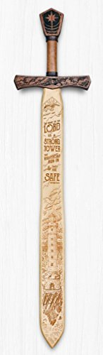 Campfire Arts The Name of The Lord is a Strong Tower - Scripture Sword Sign - Hand Crafted - Made in The USA