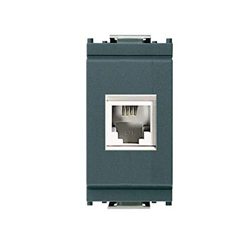 FRUTCO RJ11 telefoonkabel compatibel Vimar Idea 16335 modulair stopcontact 6/4 voor telefoonkabel verbinding zonder gereedschap kleur zwart