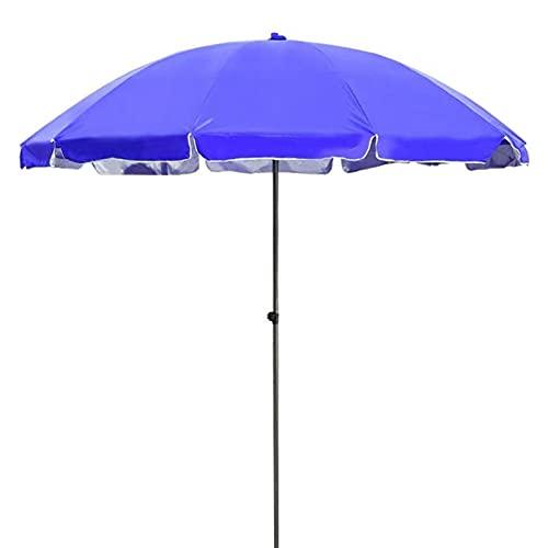 JIETAOMY Paraguas Plegable 6FT Patio de Acero al Aire Libre Paraguas Rayado Patio Paraguas Outdoor Mesa Mercado Paraguas a Rayas con botón de pulsador (Color : Blue)