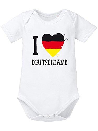 clothinx Baby Body Bio Handball EM 2020 I Love Deutschland Weiß Größe 86-92