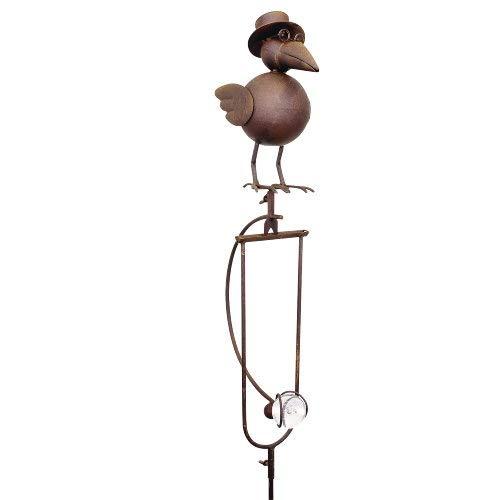 Pommerntraum ®   Vogelwippe   Windspiel   Metall Rostoptik *** Prof. Dr. Rabe **** tolle Gartendekoration