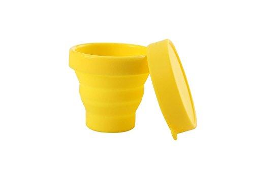 nalmatoionme 170ml Silikon Tasse, faltbar klappbar Wasser Cup mit Deckel für Camping Reisen (gelb)