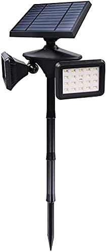Raelf Luz solar LED Doble cabeza Inducción 5W 630LM LED Césped Luces de seguridad solares al aire libre IP65 Luz decorativa a prueba de agua Luz decorativa para patio Patio Pathway Floodlight Plug Pat