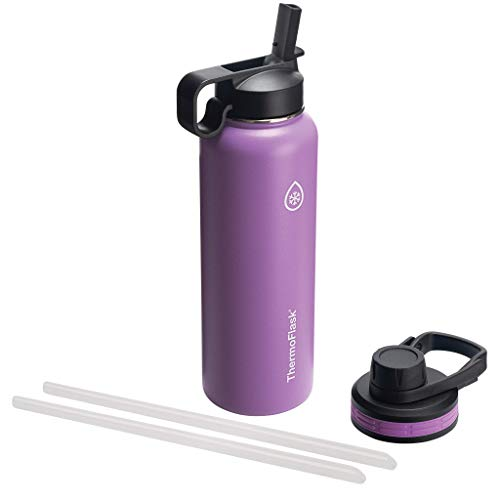Thermoflask Bottle with Chug and Straw Lid, 40oz, Plum
