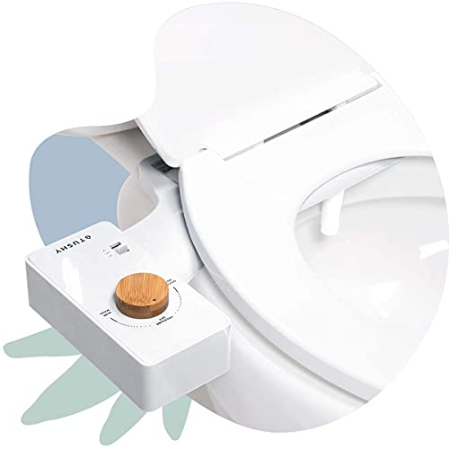 TUSHY Classic Bidet Toilet Seat Attachment - A Non-Electric Self Cleaning Water Sprayer w/Adjustable Water Pressure Nozzle, Angle Control & Easy Home Installation (White/Bamboo)