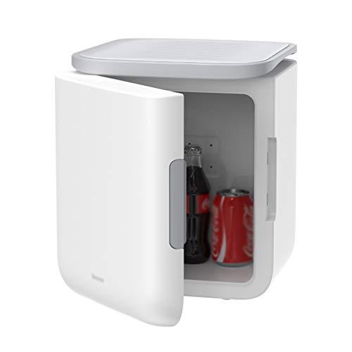 YANN Mini congelador 6L / 12 Puede más frío portátil y Calentador, AC + DC Power - para Dormitorio, Oficina, Dormitorio, automóvil - Ideal para el Cuidado de la Piel y la cosmética (Color : White)