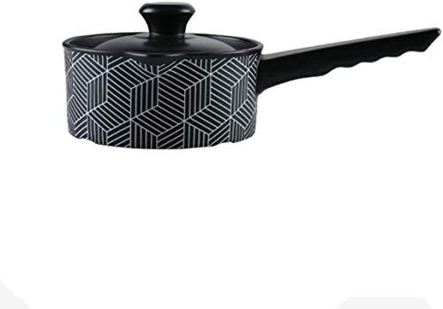 XY-M Plato de cazuela de cerámica con Tapa Resistente al Calor, Olla de Barro, bibimbapa, bibimbap, Olla, Saludable, Negro, Negro 1.05ºP