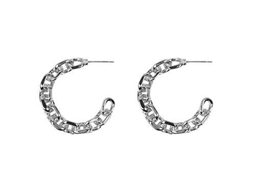 Orla - Pendientes de aro de latón chapado en plata
