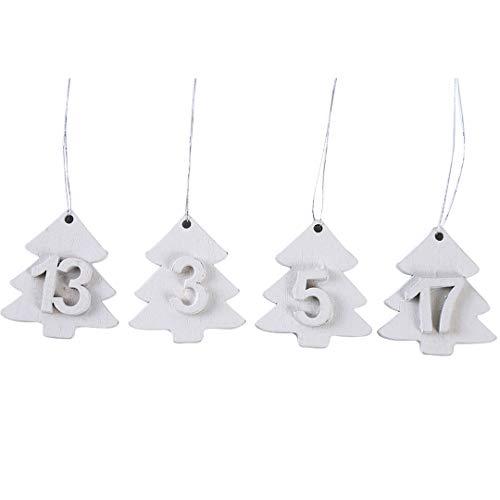 TXSD Hölzerner Weihnachts-Countdown-Kalender Hölzerne Weihnachtsbaumschmuck hängende Verzierungen basteln Weihnachts-Holzverzierungen