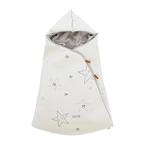 Arrullo/Saco para bebés Rosy Fuentes - para capazo universal - Arrullo para bebés con ojales para arnes y Capucha integrada0-blanco gris