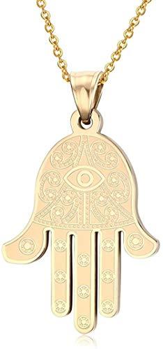 MNMXW Collar con Colgante de Mano de Fátima Hamsa y Ojo Egipcio de Acero Inoxidable HUANIAN192 Colores