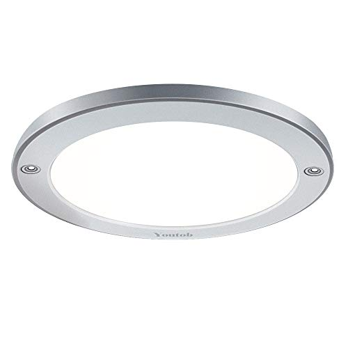 Youtob LED Flush Mount Ceiling Light, 15W 100 Watt Equivalent, 1200lm Brushed Silver Round Lighting Fixture for Closets, Kitchens, Stairwells, Basements, Bedrooms, Washrooms (Cool White 4000K)