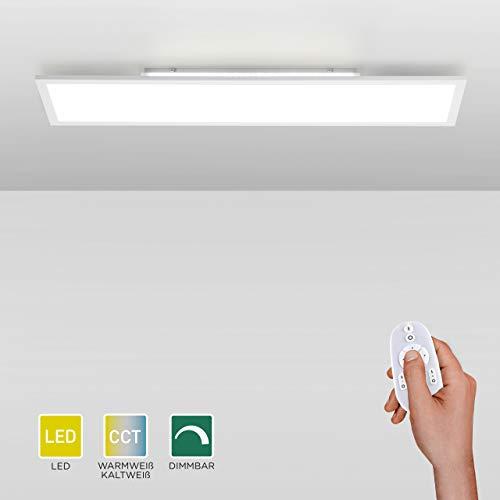 LED Panel dimmbar, 120x30cm, Decken-Lampe mit indirekter Deckenbeleuchtung | Farbtemperatur mit Fernbedienung einstellbar, warmweiss - kaltweiss | Decken-Leuchte flach für Wohnzimmer, Küche und Bad