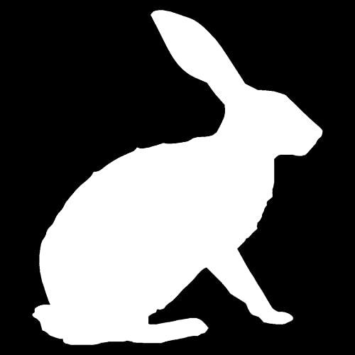 KDEQT Sticker De Carro 12,4 * 14,3 Cm Lindas Orejas Erectas Rabbit Hare Pegatina De Coche Decorativa Divertida Calcomanía Estilo De Coche Negro/Plateado