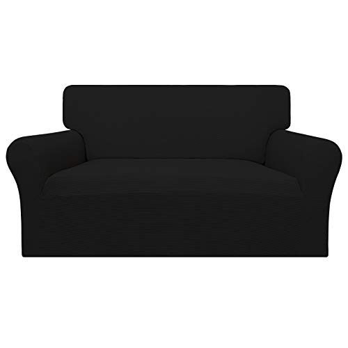 Easy-Going 100% Waterproof Loveseat Couch Cover,Dual Waterproof Sofa Cover, Stretch Jacquard Sofa Slipcover, Leakproof Furniture Protector for Kids, Pets, Dog and Cat ( Loveseat, Black)