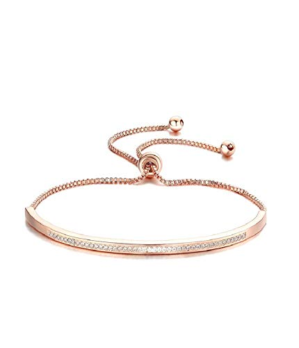 Price comparison product image SHINCO Bella Lotus Half Bar CZ Paved 18k Gold Plated Adjustable Chain Bracelets Women / Girls Fashion Jewelry,  for Love,  Anniversary(Small Size)