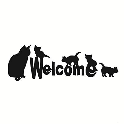 Pegatinas de pared, muchos gatos son bienvenidos con una pequeña decoración Regalo de arte Cocina Obra de arte Pegatinas Niños Vinilo Acrílico Calcomanías de baño extraíbles Cumpleaños 59x19cm
