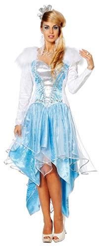 narrenkiste W4402-34 - Disfraz de rococ para mujer, talla 34, color azul y blanco