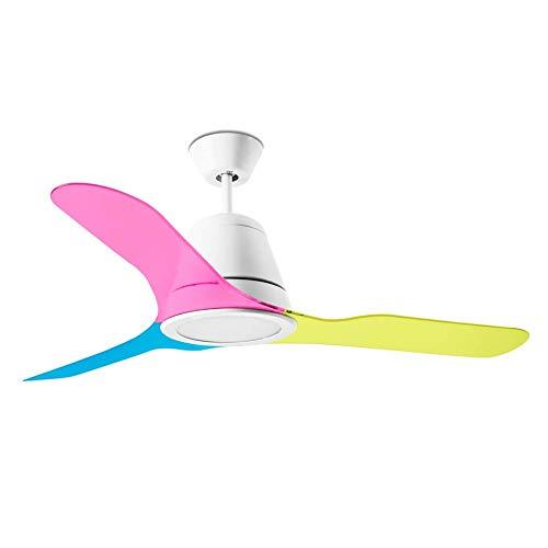 Leds-C4 Tiga - Ventilador de techo (132 cm, con iluminación LED), multicolor