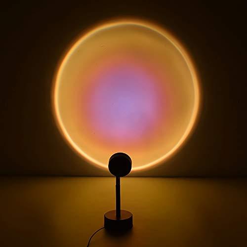 FAQUAN Sonnenuntergang Projektion LED Licht, Led Projektor Lampe, Rainbow Floor Stand Moderne Lampe Nachtlicht mit USB-Aufladung, 90 Grad Drehung mit für Wohnraum Dekor