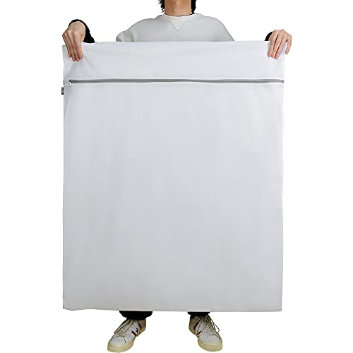 J.K.T 洗濯ネット ランドリーネット 布団用 特大 細かい綱目 洗濯機 洗濯 布団 カバー 毛布 カーテン 大物用 ネット 損傷を防ぐ 丈夫 角型 大判 サイズ 90×110cm 家用 収納 1枚入り